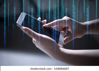 finger girl with hand touch screen on technology smartphone for business social network connect to people concept, deep learning data,internet of things, 01 code, robotic sytem, hacker security