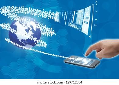 finger global communication connected  World.