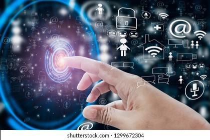 finger hand point touch button open interface into social media world,with concept internet of things, fast 5g technology, cloud storage, and data analysis using AI (artificial intelligence)