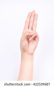 finger hand symbols isolated concept three fingers pledge Scout's oath on white background