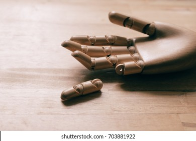 Finger hand of wood accident, Work overload concept ,Insurance concept