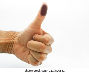 Finger marked after vote. Mexico Elections 2018, elecciones Mexico 2018, spanish text