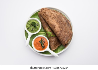 Finger Millet orRagi Dosais a healthy Indian breakfast served with chutney, in roll, flat or cone shape