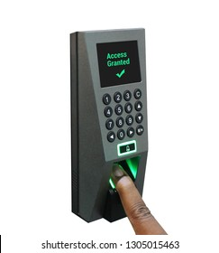 Finger on biometric access control security device - logon access granted for fingerprint scan