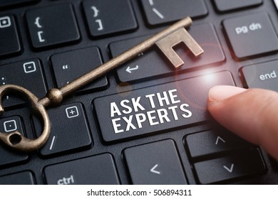Finger on laptop keyboard written Ask the Experts