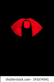finger on red lips at black background