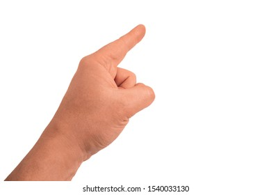 Finger pointing by adult guy. Gesture of man hand on transparent isolated background. Closeup mockup