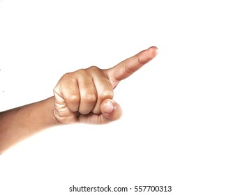 Finger pointing isolated on white background