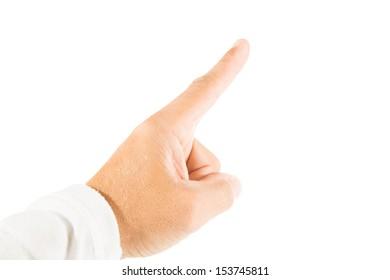 Finger pointing upward with white background
