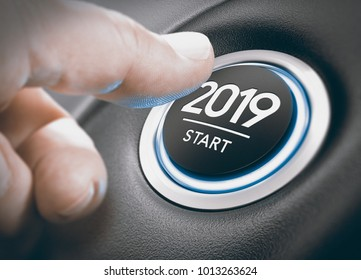 Finger pressing a 2019 start button. Concept of new year, two thousand nineteen. Composite between a photography and a 3D background