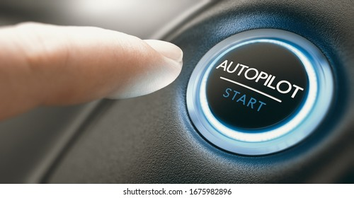 Finger pressing an autopilot button in a self driving car. Composite image between a hand photography and a 3D background.