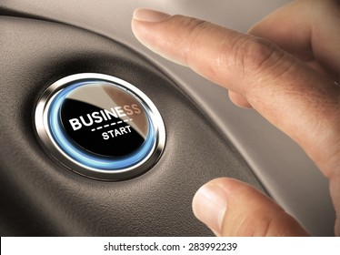 Finger pressing business button. Blue and black tones. Start up concept.