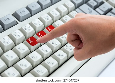 Finger pressing button Keywords xxx on keyboard computer