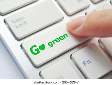 finger pressing go green button on keyboard background