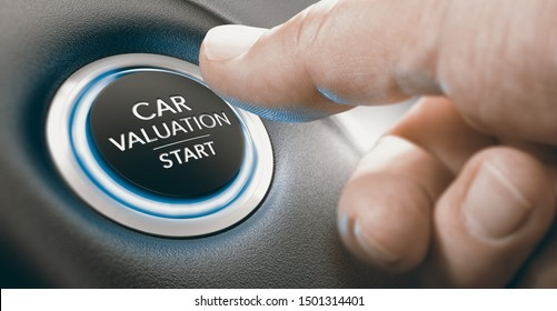 Finger pressing a keyless ingnition button where it is written the text car valuation start. Composite image between a hand photography and a 3D background.