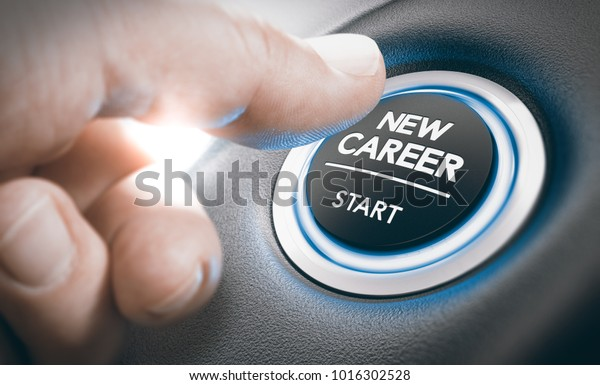 Finger pressing a new career start button. Concept of occupational or professional retraining or job opportunities. Composite between a hand photography and a 3D background