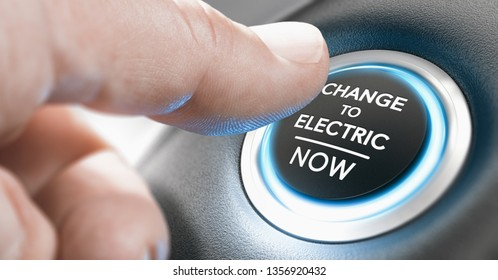 Finger pressing a start button with the message change to electric now. Composite image between a hand photography and a 3D background.