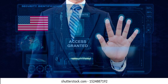 Finger Print Biometric Scanning Identification System. Businessman scan fingerprint biometric identity and approval. American Nationality