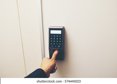 Finger print scan for enter security system with copyspace.