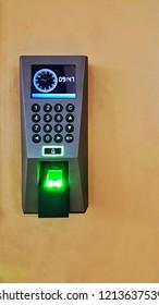 Finger print scan for enter or unlock door security system.