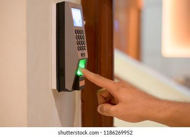 Finger print scan for unlock door security system.