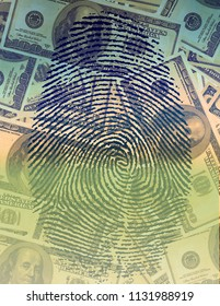Finger Print and USA Currency. 3D rendering