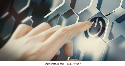 Finger pushing digital start button on a futuristic interface. Conceptual design of an innovative technology. Composite image between a hand photography and a 3D background.