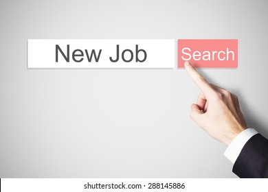 finger pushing red web search browser button new job