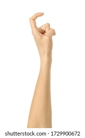 Finger reaching or scratching. Woman hand with french manicure gesturing isolated on white background. Part of series