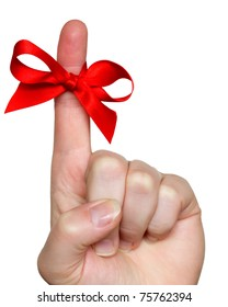 finger with red bow