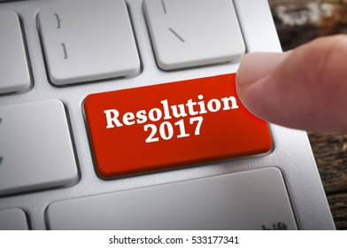 """Finger at """"Resolution 2017"""" On Keyboard Button"""