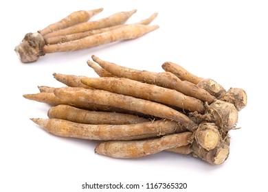 Finger root; Krachai (Boesenbergia rotunda ) on white background; thai herb