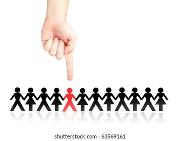 Finger selecting and showing a man from a crowd (selection, choosing, discrimination, stigmatization concept and more)