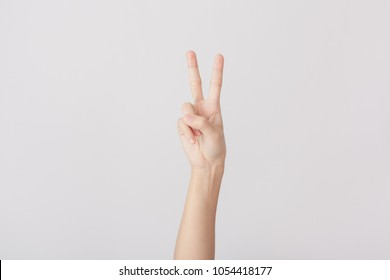 Finger Spelling the Alphabet in American Sign Language (ASL). The Letter V