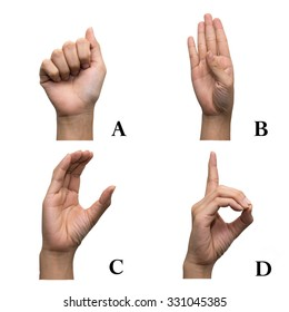 Finger Spelling the Alphabet in American Sign Language (ASL). The Letter A, B, C and D.