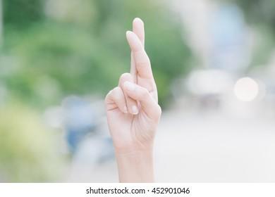 Finger Spelling the Alphabet in American Sign Language (ASL). The Letter R