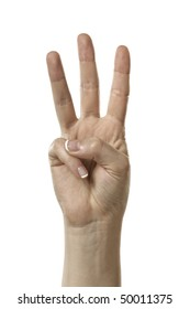 Finger Spelling the Alphabet in American Sign Language (ASL). The Letter W