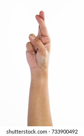 Finger spelling the alphabet letter R in American hand sign language