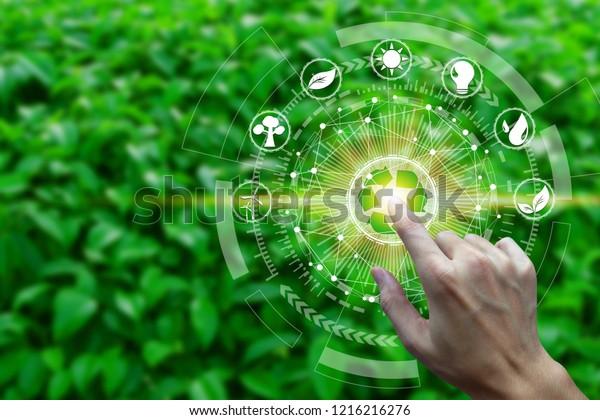 Палец контакт с окружающей средой Иконки по сетевому соединению на фоне природы, концепция технологии экологии.