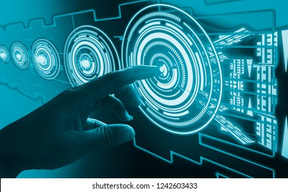 Finger touch interface abstract concepts, involving very modern futuristic technology and design,with innovative humanity,creating and developing technology of modern world,for progress of things.