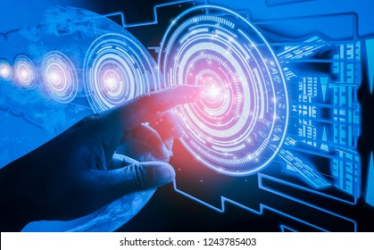 Finger touch interface, involving very modern futuristic technology and design,with innovative humanity,creating and developing technology of modern world, Elements of this image furnished by NASA