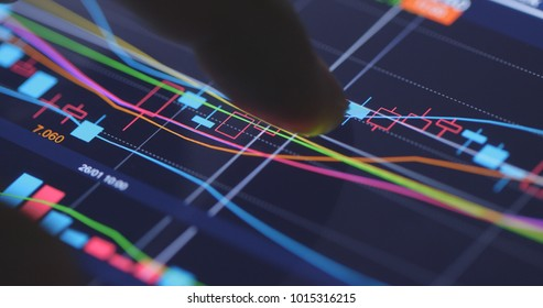 Finger touch on the stock market graph