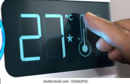 Finger touching a digital thermostat temperature controller to set it at 27 degrees celsius. Composite between an image and a 3D background