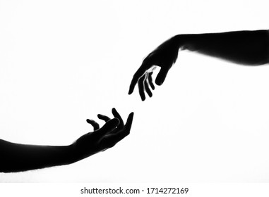 Finger Touching hands silhouette man woman white background couple feeling love. Black and white photo picture. Hands. Shadow. Black and white photo. Life. Love.