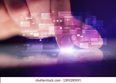 Finger touching tablet with global database concept and dark background