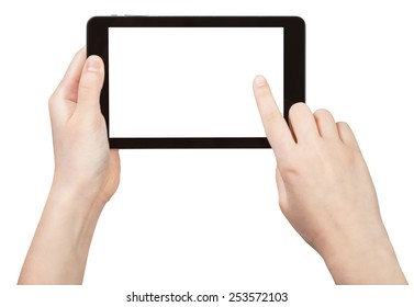 finger touching tablet pc with cut out screen isolated on white background