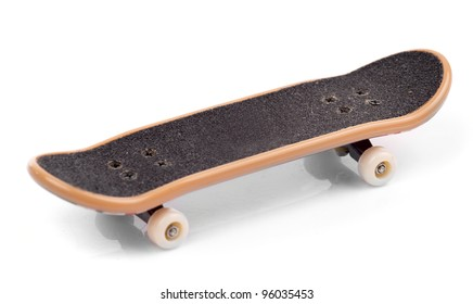Fingerboard isolated on white background, close-up
