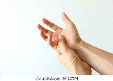Finger.Hand trigger finger lock concept healthy white background