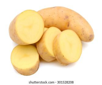 fingerling potatoes sliced on white back ground