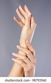 Fingernail. Beautiful woman hand with france manicure